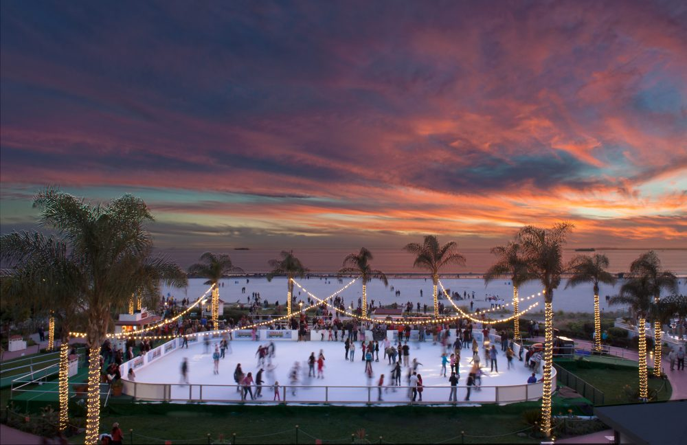 Ice skating rink at the Hotel del Coronado photographed by William Morton Visuals.