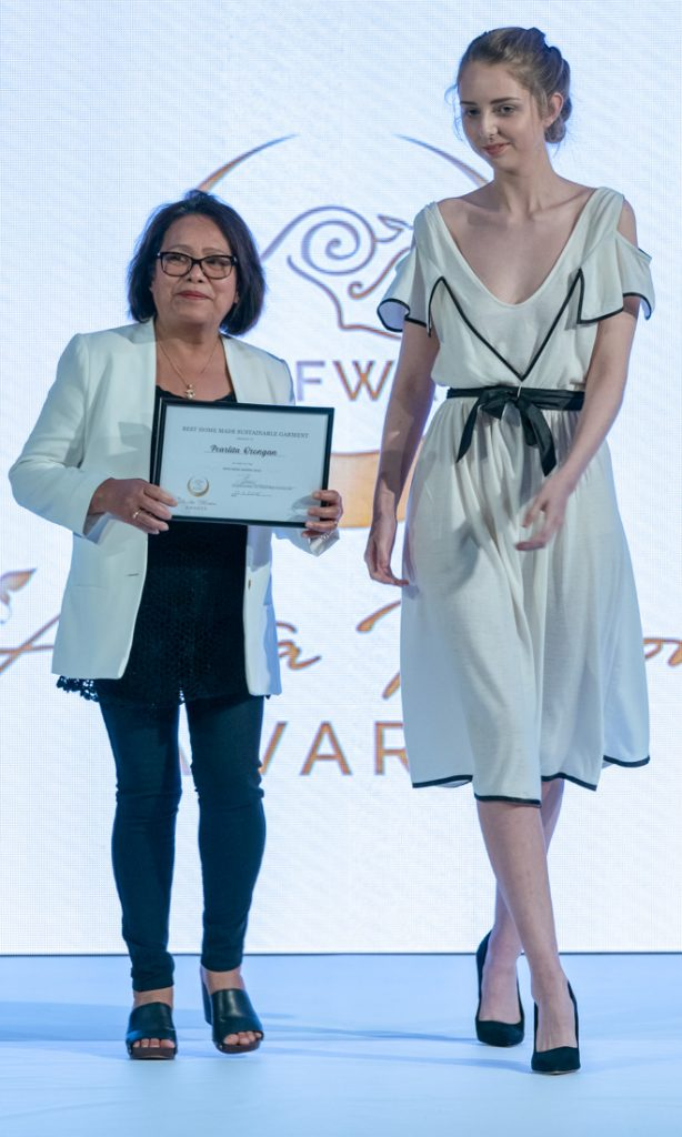 Australian eco-fashion designers Best Australian home substainable garment award Pearlita Orongan Eco Fashion Week Australia 2018